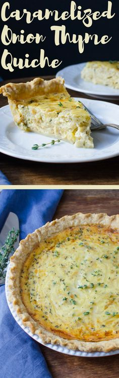 Need a foolproof quiche recipe?  This Caramelized Onion and Thyme Quiche is it! A delicious vegetarian entree that's great for entertaining and  you can make-ahead!  Great for brunch or special occasions like Christmas morning! via @GarlicandZest