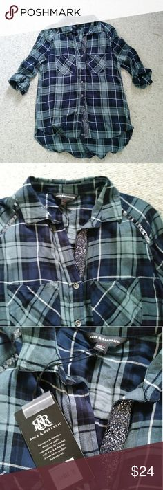 NWT Rock & Republic Metallic Plaid Shirt Small PRODUCT FEATURES  Button-down front  Long sleeve  Metallic detailing  Plaid design  Relaxed, drapey fit  High-low hem  Button tab sleeves roll from long to 3/4-length  FABRIC & CARE  Rayon  Machine wash  Imported Rock & Republic Tops Button Down Shirts