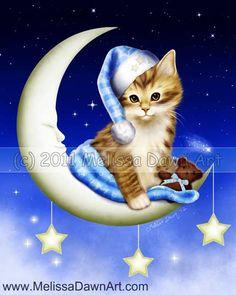 Goodnight Moonlight cat on moon fine art print Melissa Dawn