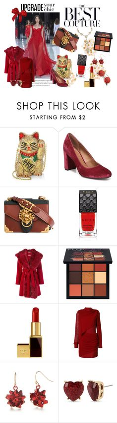 """the best of couture"" by maisythicc ❤ liked on Polyvore featuring RALPH, Judith Leiber, Franco Sarto, Prada, Gucci, P.A.R.O.S.H., Huda Beauty, Tom Ford, Balmain and Kim Rogers"