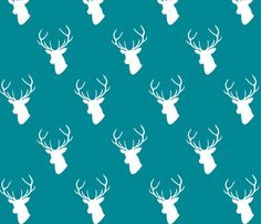 Teal Deer Silhouette fabric by mrshervi on Spoonflower - custom fabric ***This fabric costs extra***