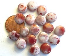 Vintage beads (20) pressed glass luster Picasso coin puffed round dark red brown white gold  luster Austrian 10mm (20) by a2zDesigns on Etsy