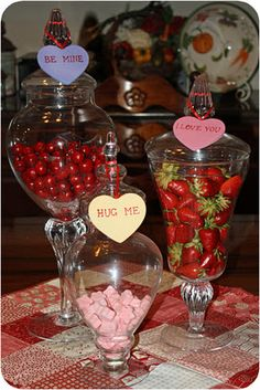 Valentine Table Decor ~ maybe use different kinds of candies in each jar...conversation hearts, m's, and kisses???