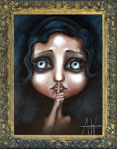 size: Stretched Canvas Print: Hush by Angelina Wrona : Using advanced technology, we print the image directly onto canvas, stretch it onto support bars, and finish it with hand-painted edges and a protective coating. Nikko Hurtado, Tribal Arm, Tim Burton Art, Apple Art, Pop Surrealism, Eye Art, Painting Edges, Stretched Canvas Prints, Big Eyes