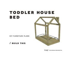 You Can Build This! Easy DIY Furniture Plans to Build a Toddler Sized House Bed. - You Can Build This! Easy DIY Furniture Plans to Build a Toddler Sized House Bed. Toddler Building P - Toddler Floor Bed, Toddler House Bed, Diy Toddler Bed, Toddler Rooms, Floor Beds For Toddlers, House Frame Bed, House Beds, Bed Frame, Diy Furniture Easy