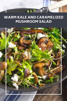 Mushrooms are incredibly versatile. Here, we sauté them until deeply golden brown, then pair their savory flavor with hearty kale leaves and a nutty sherry vinegar dressing. It's an easy vegetarian meal in a bowl. Easy Green Salad Recipes, Lettuce Salad Recipes, Fresh Salad Recipes, Vegetarian Salad Recipes, Kale Recipes, New Recipes, Vegetarian Meal, Vegan Recipes, Kitchens