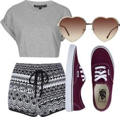 inspired with vans! by bethanym-style featuring vans shoes  Topshop roll up shirt / Cameo Rose short shorts, $20 / Vans  shoes / Quay heart shaped sunglasses