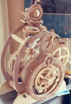 Wooden Clock Plans, Wooden Gear Clock, Wooden Gears, Clock Template, Marble Machine, Mechanical Clock, Pendulum Clock, Cool Clocks, How To Make Wall Clock