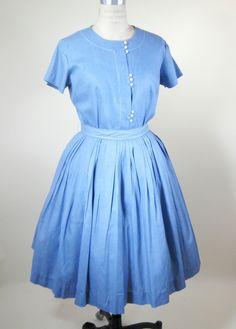 50s Blue Cotton Day Dress Size Medium Full Skirt. $47.99, via Etsy.