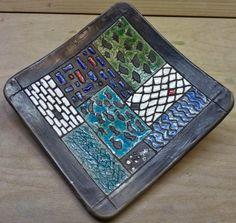 """Deko-Objekte - Schale """"Mosaik"""", Rakubrand - ein Designerstück von Tonkunst bei DaWanda"""