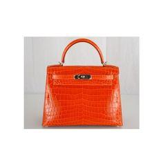 Hermes Orange Niloticus Crocodile 28cm Kelly Bag with Palladium Hardware found on Polyvore