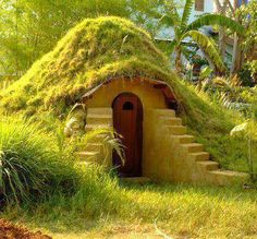 If i had to think what kind of house a transcendentalist would built it would be something like this. A little home that is has nature growing all over it.
