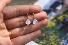 Moonstone Earrings, Drop Moonstone Earring, Blue Ear Drop, 14k Gold Fill Earring, 925 Sterling Silver Earring, Gemstone ear stud, Birthstone