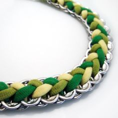 LemonLime Braided Pop Tab Necklace by RandallWear on Etsy, $55.00. Made from pop tabs from cans and old tshirts. Could definitely do this on my own!