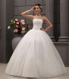 Cheap Gown Party Buy Quality Dresses For Sale Directly From China Dress Ball Suppliers New White Wedding Strapless Beading Crystal Bridal