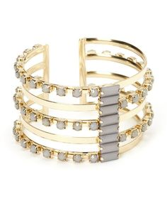 Look what I found on #zulily! Gray & Gold Cuff Bracelet by Jewelry Nut #zulilyfinds