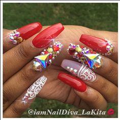 Slayed! I do this! ❤️ #nails #nailart #nailartist #nowbooking #nailstylist #nailtechatl #nailsbylakita #redhot #atlanta #atlnails #atlantanails #bookme #booknow #swarovski #swarovskicrystals #celebritynailsatl #celebritynailtech #nails2inspire #SheLoveMe #BossNails #ShowMeTheMani TAG A FRIEND WHO WOULD LOVE THESE!!!