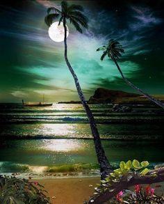 Night at Maui beach, Hawaii.