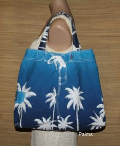 Handmade market tote, beach or shopping bag. Made from repurposed swim trunks. See more styles in my Etsy shop. $15