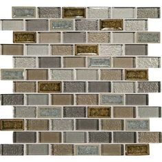 Daltile Crystal Shores Crackle Glass - CS95 Sapphire Lagoon Blend - 1 X 2 Brick Joint Subway Dal Tile Glass Mosaic