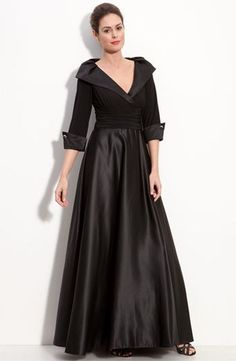 Mother of the Bride - Eliza J Jersey & Satin Portrait Collar Gown