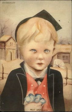 A/S MILLY HEEGAARD Osterdalen Little Boy w Flowers SCANDINAVIAN Old Postcard