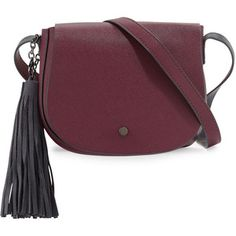 Neiman Marcus Faux-Leather Tassel Saddle Bag