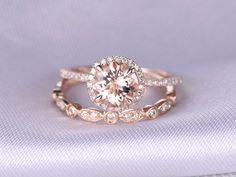 2pcs Wedding Ring SetMorganite Engagement ring14k Rose by milegem
