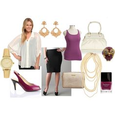 Fuschia, pearls, champagne, & gold, created on Polyvore  Business  Clothing look from Torrid, Lane Bryant, and Old Navy.  Accessories under 50 dollars.