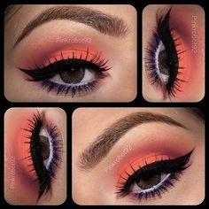 orange with purple eye makeup