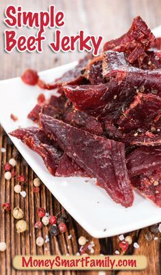 Simple Beef Jerky Recipe - an easy to make at home recipe that is 1/2 the price of store bought beef jerky and way more flavorful. It's a delicious DIY treat.