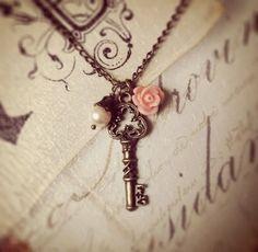 Antique Key Necklace by Lovelina on Etsy