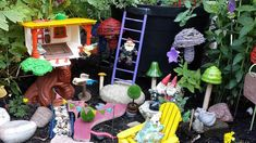A whimsical garden walk with a fanciful fairy garden and gnome garden too. But don't be fooled. This garden is by a couple who belong to a garden club and the g… Vertical Pallet Garden, Funky Junk Interiors, Flower Garden Design, Recycled Garden, Gnome Garden, Garden Art, Fairies Garden, Garden Club, Lush Garden