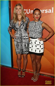 Heidi Klum & Nick Cannon Know How to Wear Black & White at NBC Summer Press Day!: Photo Heidi Klum and fellow America's Got Talent judge Mel B are all dolled up while attending NBCUniversal's Summer Press Day at The Langham Huntington Hotel and Spa… Mel Brown, Celebrities In Stockings, Nick Cannon, America's Got Talent, Heidi Klum, Wearing Black, Summer Days, Super, Photo Galleries