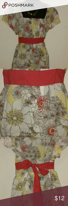 """Spring Floral Top *Empire Waist Square Neckline Top  *Red Attached Tie  *Spring Floral Print- Yellow, Red, White & Black Lines  *Length 21""""     *Chest 27""""    *Sleeves 4""""  *OFFERS WELCOME*  *TRADE ALSO* Cato Tops Blouses"""