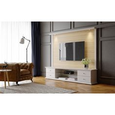 Carder Natural Wood TV Stand and Panel with Led Lights Off-White (Beige) - Manhattan Comfort Tv Stand And Panel, Tv Panel, Racks Tv, Cool Tv Stands, Home Decor Online, Open Shelving, Contemporary Furniture, Interior Design Living Room, Family Room