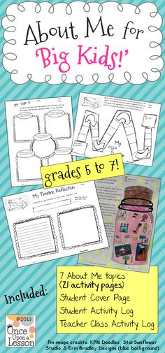 An 'About Me' writing activity packet for Grades 5 to 7! Seven 'About Me' topics (3 pages each) = 21 student activity pages. Fun for kids and great for back to school! $ (By Once Upon a Lesson) #WritingActivity #AboutMe