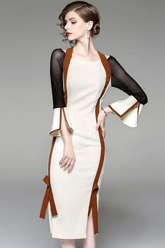 Beige Ruffle Sleeve Knot Midi Dress