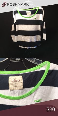 Hollister LS shirt XS Hollister Navy and White stripped lime green emblem and neckline crop length long sleeve excellent condition Hollister Tops Tees - Long Sleeve