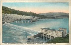Chattanooga Tennessee~Lock & Dam~Tennessee River Power Co~Steamboat~1920s