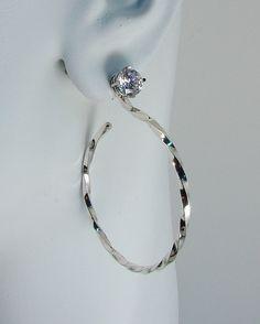 Earring Jackets Sterling Silver Hoop Dangle Stud Diamond Earing Ear For Studs Square Wire Twist Jh32sqtwss