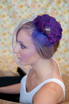 Bridesmaids Fascinator Regal purple bloom with by Binabonnet