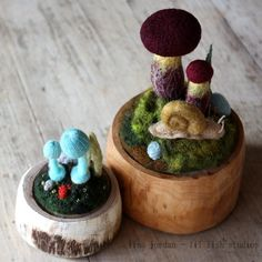 Felted Mushroom Terrariums.  Oh my lord, there's also a snail!