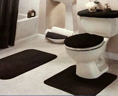 Black Bathroom Rug Set 4 Pc Homefashions