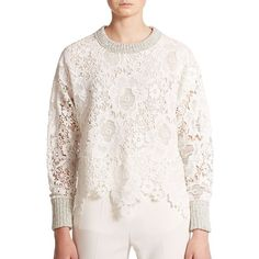 See by Chloe Lace & Knit Sweater (18,605 THB) ❤ liked on Polyvore featuring tops, sweaters, apparel & accessories, milk, lace up top, crewneck sweater, white long sleeve sweater, white lace sweater and white sweater