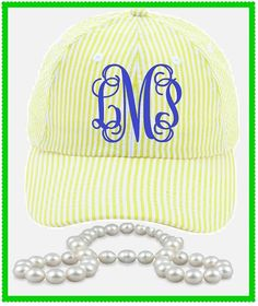 GameDay Yellow Seersucker Baseball Cap is too cute with your Pearls & hair pulled back!  check out www.LisasUniqueCreations.com  #SeersuckerCapMonogram  #Seersucker  #Monogram #seersuckercapwholesale
