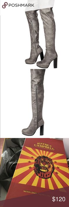 Jeffery Campbell gray knee high boots Beautiful grey Jeffery Campbell's, perfect condition. I wish they fit :( well made and great quality Jeffrey Campbell Shoes Over the Knee Boots