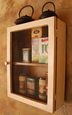 "Rustic Storage Cabinet - 4.5"" shelf - 2 shelf wood cabinet with wire door"