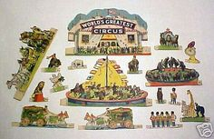Vintage 1929 WORLDS GREATEST CIRCUS Set Litho Paper Toy