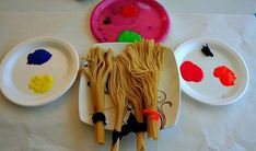 Use with Room on the Broom or any Halloween/witch story spaghetti brushes. Wrap rubber band (or something that won't burn or melt) around a handful of spaghetti towards the top. Cook as normal and allow to cool.